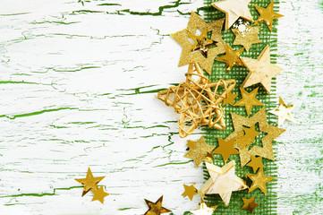 Weihnachtskarte mit Sternen und Juteband