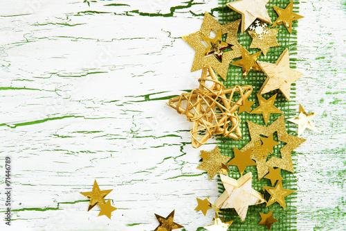 canvas print picture Weihnachtskarte mit Sternen und Juteband