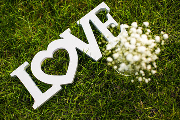 Love is in the air and on the green - Word LOVE lying in lush