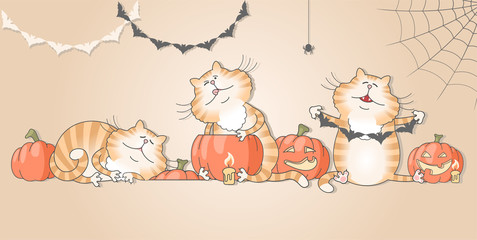 Illustration of funny cats preparing decorations for halloween