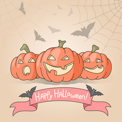 Illustration of three smiling halloween pumpkins
