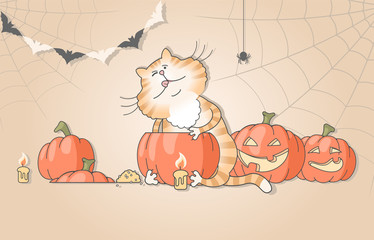 Illustration of funny cat carving pumpkins for halloween