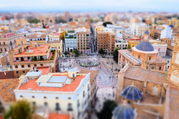 Miniature effect of Virgin's Square in Valencia, Spain