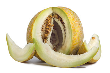 melon and slice on white background