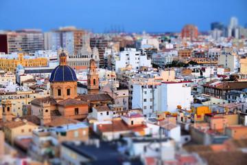 Miniature effect of St. Thomas Church in Valencia, Spain