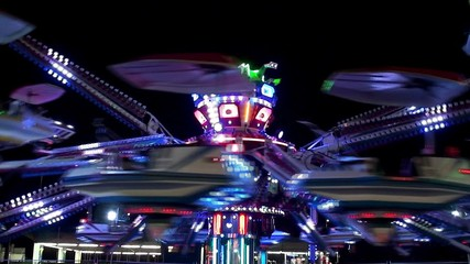 Amusement ride at night.