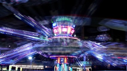 Amusement ride at night.