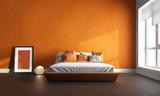 3d render of orange bedroom