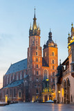 St. Mary's Church in Market Square, Krakow, Poland.