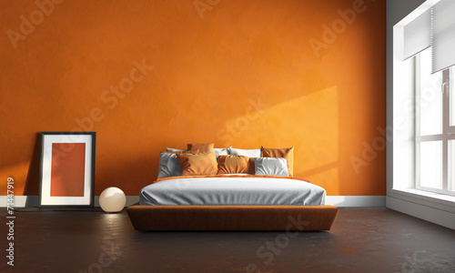 3d render of orange bedroom - 71447919