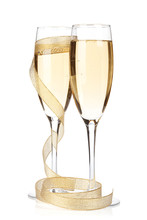 "Постер, картина, фотообои ""Champagne glasses with golden ribbon"""
