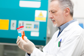 Researcher analyzing a test tube