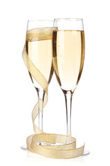 Champagne glasses with golden ribbon