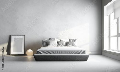 Leinwanddruck Bild 3d render of white bedroom