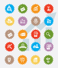 Marketing icon set,colour version,clean vector