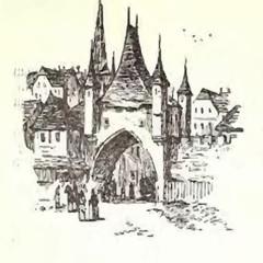 Vector sketch old town - Illustration