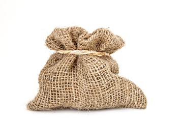 Brown small burlap bag with rope on white background