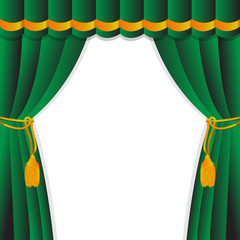 Green curtain of a classical theater.