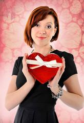 cute red hair woman with heart shape box anniversary box