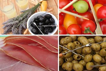 Apéritif : Jambon Olive Tomate cerise   Pastis