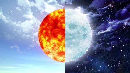 sun and moon of day and night seperate screen concept