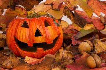 Halloweenkürbis auf Herbstlaub