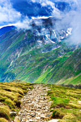 Hiking trail in the Fagaras mountains