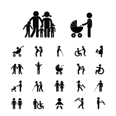 family vector icon set