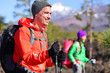 Hiker man hiking - healthy active lifestyle