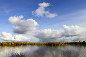 scenic autumn landscape of river and trees in northern Russia