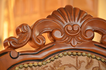 Detail of back an decorative wooden chair