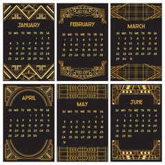 Art Deco or Gatsby Calendar 2015 - English, starts with Sunday
