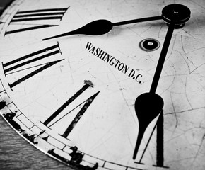 Washington D.C. black and white clock face