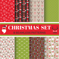 Christmas Retro Set - 8 seamless patterns - for design