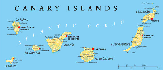 Canary Islands Political Map