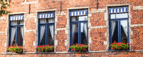 Windows in Belgium house.