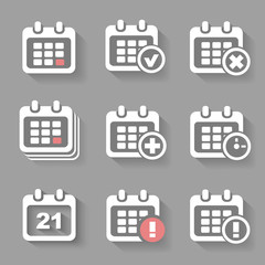 Vector Calendar Icons- event add delete progress. White