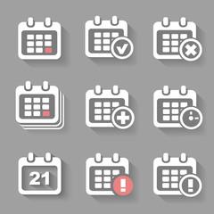Vector Calendar Icons- event add delete progress. White