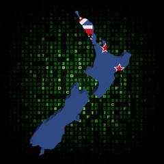 New Zealand map flag on hex code illustration