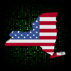 New York state map flag on hex code illustration