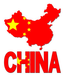 China map flag and text illustration