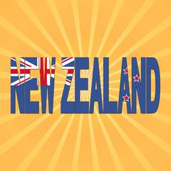 New Zealand flag text with sunburst illustration