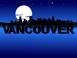 Vancouver skyline reflected with text and moon illustration