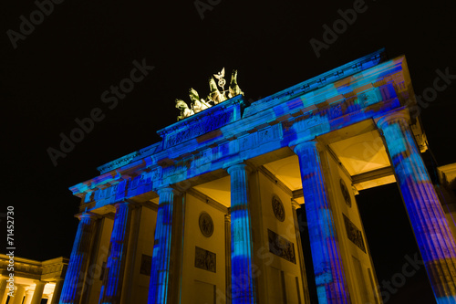 canvas print picture Brandenburg Gate in night illumination. Festival of Lights 2014
