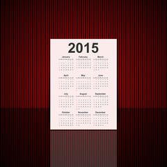 Vector 3D paper calendar 2015 year.