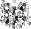 White collar big group people work in office