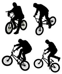 Bicycle collage. Boy on BMX bike isolated on white