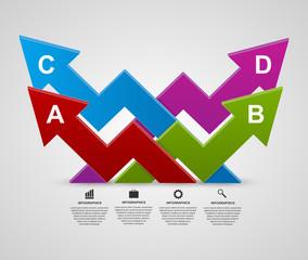 Vector modern 3d arrows infographic design template.