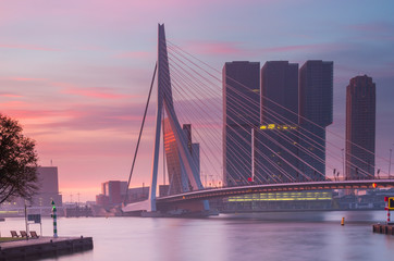 Rotterdam skyline at sunrise