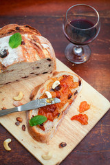 Cranberry and walnut bread with jam